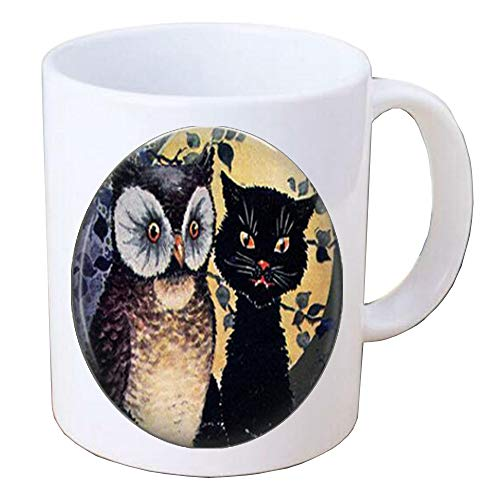 - Owl and cat Photo Mug Coffee Mug or Key chain Altered Art Jewelry glass Mug Fall Halloween gift,TAP400