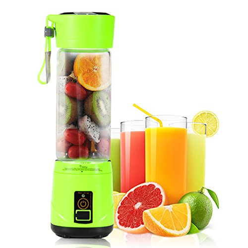 Portable USB Personal Blender with Travel Jar, Smoothie Maker and Juicer, Portable Single Serve for Shakes and Smoothies | High Speed, Powerful, 350ml, BPA-free, 4 Blades - Green | Upgrade Version