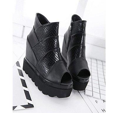 black ggx LvYuan synthétique noir Talons casual confort féminins Bw0qg