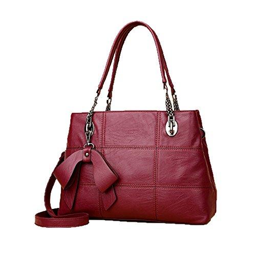 à Leather Pour Design Mode Femmes à Main Main Shape Les Sac élégant Shoulder V Handle Red Look Sacs Top ORrOZqnw4C