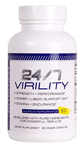 (24/7 Virility Testosterone Booster - Improved Increase Energy, Endurance Best Stamina Physical Performance Product with Horny Goat Weed, maca, and tribulus 90 Veg Cap)