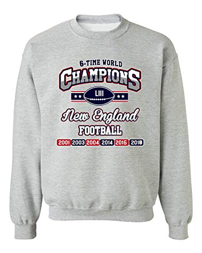 New Crewneck Mens Sweater - New World Champion 6-Time New England Football DT Crewneck Sweatshirt (X Large, Sports Gray)