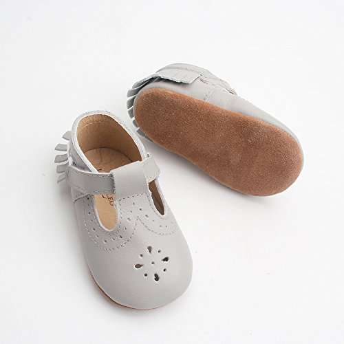 Liv & Leo Baby Girls Mary Jane Sandals Moccasins Soft Sole Crib Shoes Slip-On Leather (18-24 Months, Grey Dot)