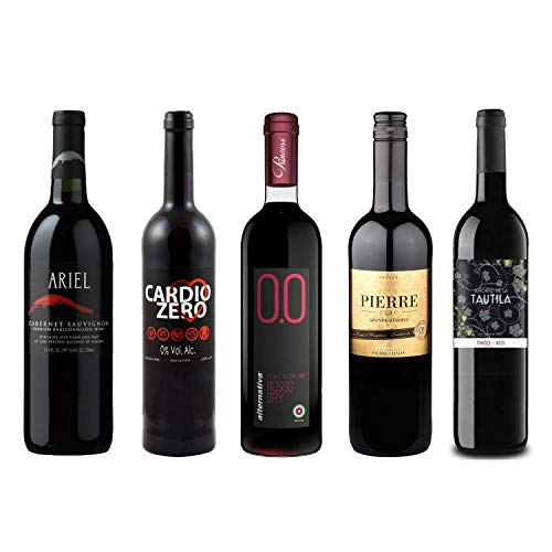Red Wine Sampler - Five (5) Non-Alcoholic Wines 750ml Each - Featuring Ariel Cabernet Sauvignon, Cardio Zero Red, Rosso Dry, Grande Reserve Rouge, and Tautila Tinto