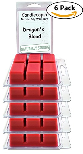 Candlecopia Dragon's Blood Strongly Scented Hand Poured Vegan Wax Melts, 36 Scented Wax Cubes, 19.2 Ounces in 6 x 6-Packs