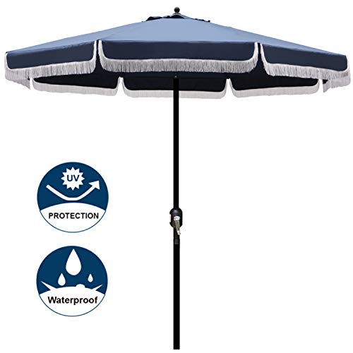 Blissun 9 Outdoor Patio Umbrella with Fringe, Aluminum Manual Push Button Tilt and Crank Garden Parasol