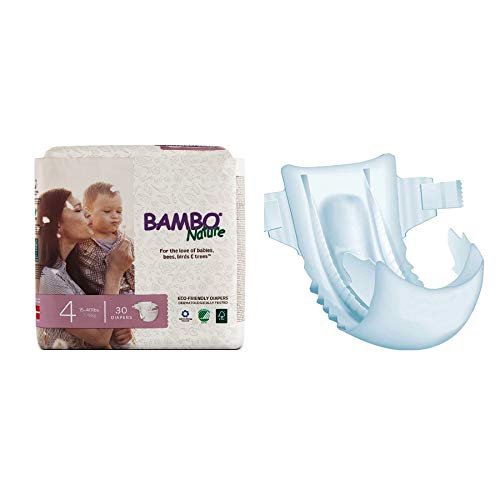 Bambo Nature Disposable Diapers, Size 4, 15-40 lbs. - Case of 180