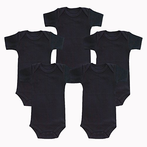 Enfants Chéris 5-Pack Newborn Baby Unisex Onesies Cotton Short Sleeve Bodysuit, (Black, 6-Months)