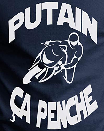 Motard Rond T Ça Homme Putain shirt Penche Humour Bleu Marine Coton Gazol Col Pur A1PxTnn