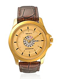TimeSmith Limited Edition Gold Dial Brown Genuine Leather Watch for Men with Day and Date TSM-092