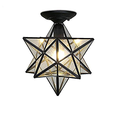 (KIRIN Moravian Star Flush Mount Ceiling Light Mini 11.8 Inch Retro Style 12 Tip Star Shades Pendant Lighting Fixture Tiffany Style(Type)