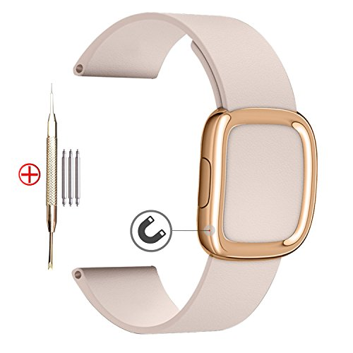 20mm Leather Watch Band,MaKer Rose Gold Modern Buckle Leather Strap for Samsung Gear S2 Classic(SM-R732/R7320/R735),Moto 360 2ng Gen Men's 42mm case;Pebble,TICHWATCH 2 (Pink)