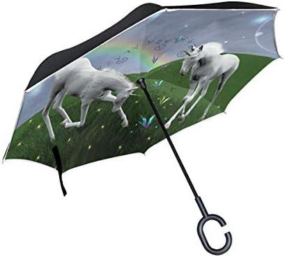 rodde mit C-förmigem Griff Winddichte Doppelschicht Inverted für Regen Outdoor-Flash-Regenschirme Unicorns Reverse
