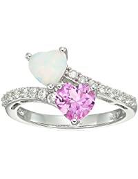 Sterling Silver Heart Shape Lab Created White Opal, Lab Created Pink Sapphire and Lab Created White Sapphire Ring