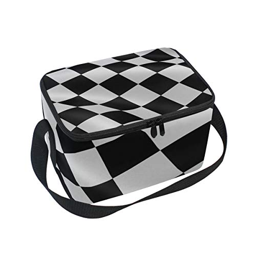 Lunch Bag Black White Checkered Flag Cooler for Picnic Shoulder Strap Lunchbox ()