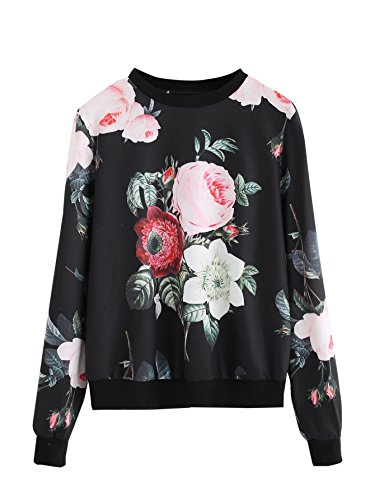ROMWE Women's Casual Floral Print Long Sleeve Pullover Tops Black S