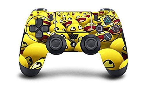 PS4 DualShock Wireless Controller Pro Console - Newest PlayStation4 Controller & Exclusive Customized Version Skin Non-modded (PS4-Emoji Smile)