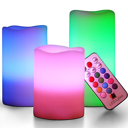 LED Lytes Flickering Flameless Candles - Battery Operated Candles Vanilla Scented Set of 3 Round Ivory Wax with Flickering Multi Colored Flame, auto-off Timer Remote Control For Weddings and Gifts by LED Lytes