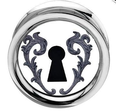 22 mm - enganche de rosca interior Vintage Alice Lock Emo Rockabilly de corazón espejo Auriculares de enchufe túnel carne - acero quirúrgico: Amazon.es: ...
