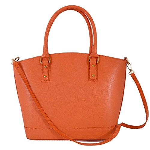 Echtes Leder Damen Handtasche Mit Metallfüßen Farbe Lachsfarben - Italienische Lederwaren - Damentasche