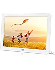toberto Digital Picture Frame with 1920x1080 IPS Screen, Digital Photo Frame Support Adjustable Brightness Photo Deletion 1080P Video Music Slideshow Remote 16:9 Widescreen Support USB(8 Inch White)