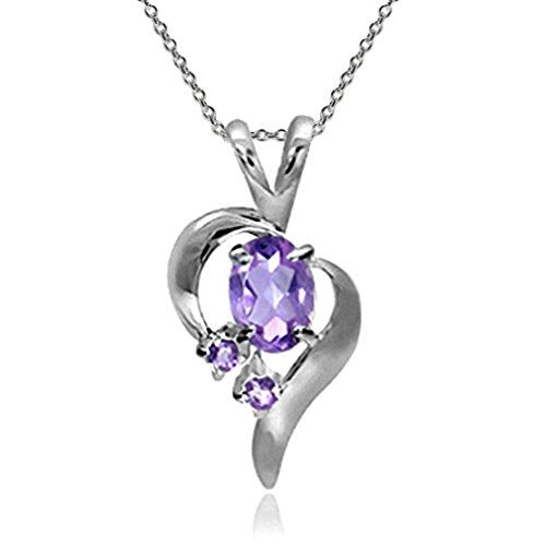 (Natural Amethyst 925 Sterling Silver Modern Heart Pendant w/18 Inch Chain Necklace)
