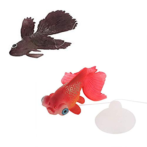 (LDEXIN 2pcs Silicone Artificial Aquarium Floating Goldfish Decoration Fish Tank Suction Cup Decor Underwater Saltwater Swimming Fish Ornament)