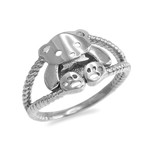 - Sterling Silver Cute Teddy Bear Ladies Ring (Size 8.75)