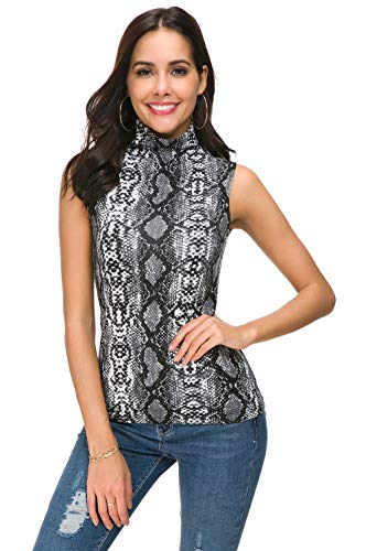 Wosalba Women Sleeveless Mock Turtle Neck Knit Pullover Sweater Shirt Solid Blouse Tank Tops