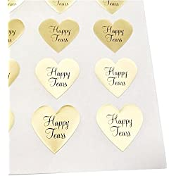"Happy Tears Stickers by Once Upon Supplies, Seals and Labels for Tissues, Wedding Favors, 1.5"" x 1.5"", Gold Foil, 48 Stickers"
