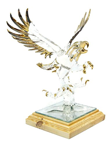 NaCraftTH Eagle Bird Handicraft Glass Blowing Artwork Gold Figurines Home Decor Fantasy Statue Handmade Gifts (Large Eagle Gold)