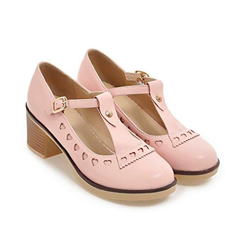 Profonda Punta Tonda Blocco Prom Alti Pink QIN Donna Scarpe Pompe Poco Tacchi Bocca amp;X SETqfzwxC