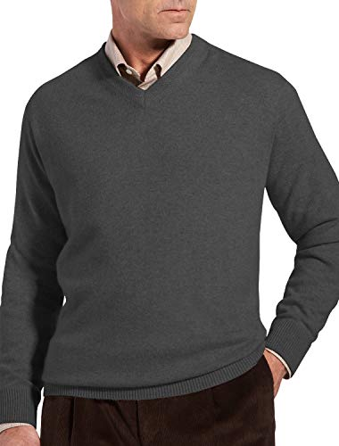 Rochester by DXL Big and Tall Cashmere V-Neck Sweater, Flannel Grey, 4XLT
