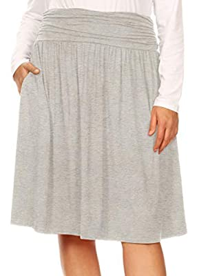 Womens Plus Size Skirt with Pockets Knee Length Ruched Flowy Skirt - Made in USA