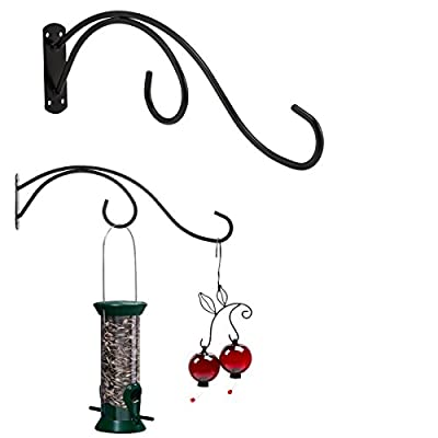 Pennington 2 Pack Double Bird Feeder Wall Hooks All Weather Metal Hangers Patio Deck