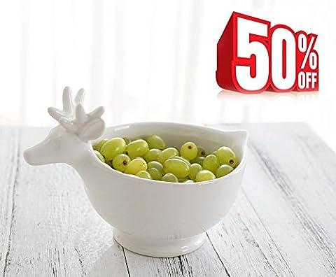 Snack Bowl Soup Cereal Storage, Serving Bowls for Cookies/ Fruit/ Ice Cream/ Salad, Ceramic Deer Decor,