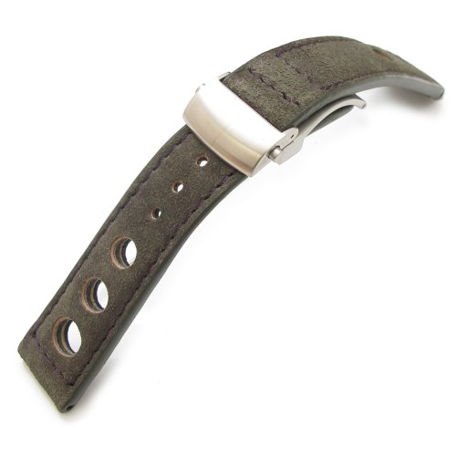 22mm Military Green Suede in Purple Stitching Deployant Watch Strap, 3 punch holes design by 20mm Leather Band (Image #1)