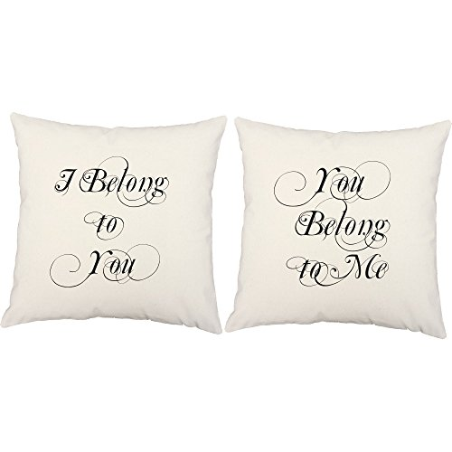 Set of 2 RoomCraft I Belong to You Throw Pillows 20x20 Square White Cotton Love Quote Cushions by RoomCraft