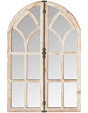 """Stone & Beam Farmhouse Wooden Arched Mantel Mirror w/Accents, 35""""H"""