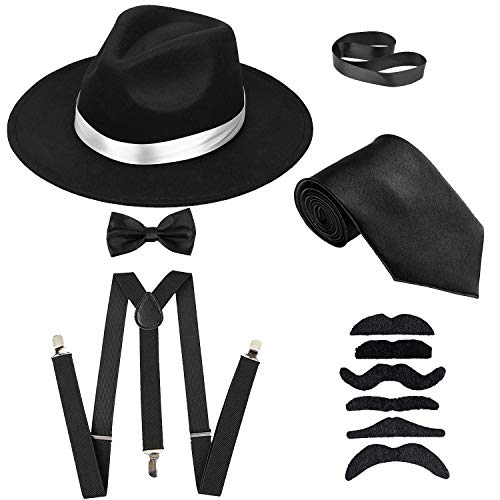 Men's Roaring 1920s Gangster Costume - Deluxe Manhattan Fedora Hat,Suspenders Y-Back Elastic Trouser Braces & Pre Tied Bow Tie,Gangster Tie & Fake Mustache (OneSize, BlackHat & BlackSuspenders)