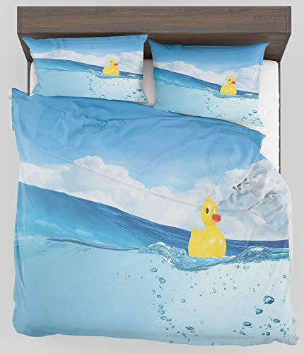 ZELXXXDA Decor Bedding Set Rubber Duck Little Duckling Toy Swimming in Pond Pool Sea Sunny Day Floating on Water Twin/Twin XL Size Duvet Cover with 2 Matching Pillow sham