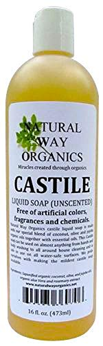 Natural Way Organics Ultra Mild Unscented Castile Soap - Perfect for Natural Skin Care and Hair Care - Make Your Own DIY Green Cleaning Products - 100% Pure - -