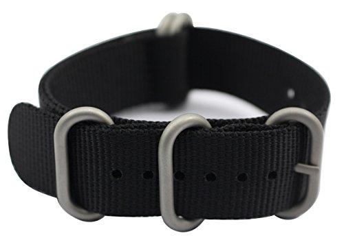 - ArtStyle Watch Band with 1.5mm Thickness Quality Nylon Strap and Heavy Duty Brushed Buckle (Black, 18mm)
