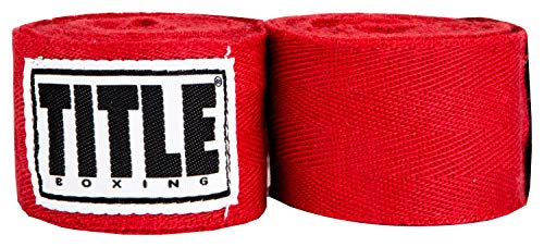 TITLE Boxing Traditional Weave Hand Wraps (Single Pair), Red