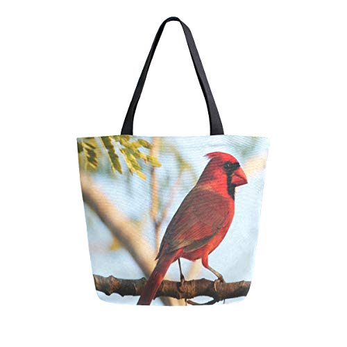 Canvas Tote Bag A Beautiful Red Bird On Branch Canvas Bookbag Shoulder Handbag for Women ()
