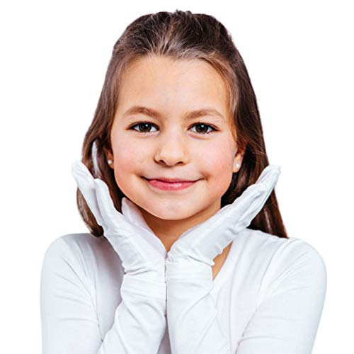 Moisturizing Eczema Gloves for Kids | Hand Moisturizing Gloves for Eczema with Anti-Inflammatory (Tencel + Zinc) - White, 5-6 Years