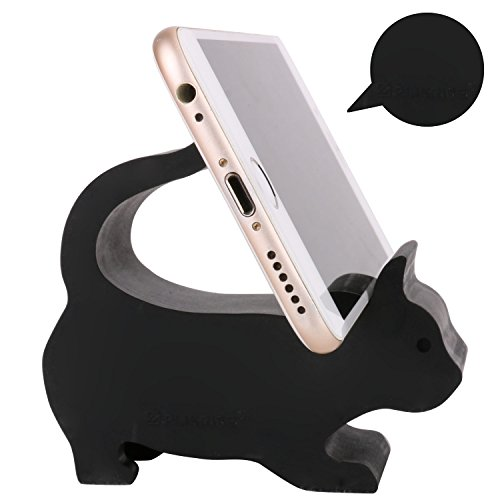 Plinrise Animal Phone Stand, Update New Cat Silicone Phone Holder, Creative Phone Tablet Stand Mounts for Free You Hands (Big Black)