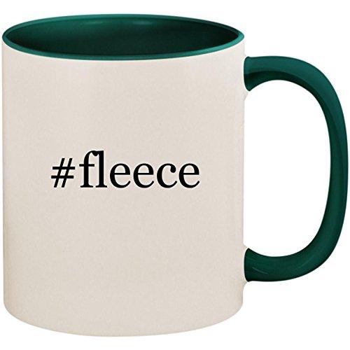 #fleece - 11oz Ceramic Colored Inside and Handle Coffee Mug Cup, Green ()