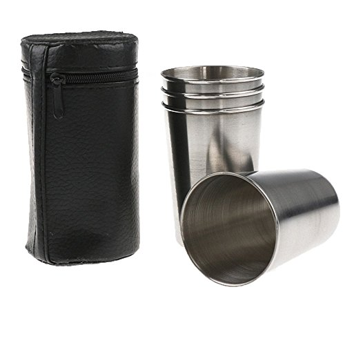 1 Set of 4 Stainless Steel 170ML Outdoor Camping Cup Mug Drinking Beer Water Coffee Tea with Free Case