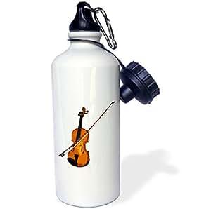 3dRose wb_1269_1 Violin Sports Water Bottle, 21 oz, White